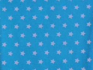 Jersey, weiße Sterne auf Türkis- Restposten zum Sonderpreis 0,5 Meter