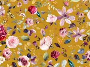 Jersey Blumen Senf