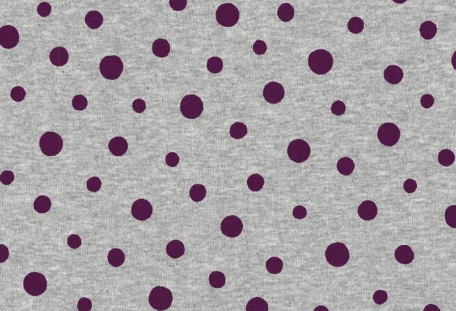 Westfalenstoffe, Jersey, lila Punkte auf Grau Melange