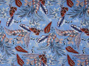 Viskose Stoff Blätter auf Blau 1839 - 1
