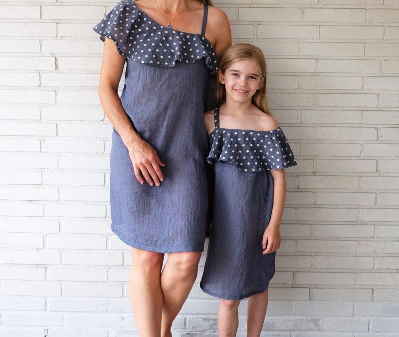 """Neues Schnittmuster """"Namika"""", ein Oneshoulder-Kleid mit Volantkragen"""