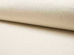 Wollstoff, Boucle Mischgewebe, Weiß/Ecru
