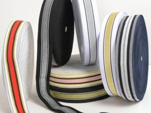 Elastic-Band, Gummiband Metallic gestreift, 40 mm breit – 3 Meter