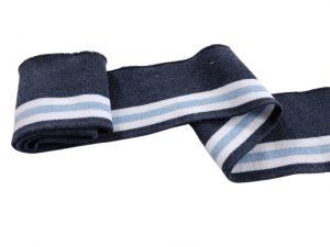 Collegebündchen-Blau-hellblau-weiß-Streifen