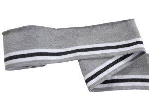Collegebündchen-Grau-grau-weiß-Streifen