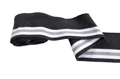 Collegebündchen-Grau-hellgrau-weiß-Streifen