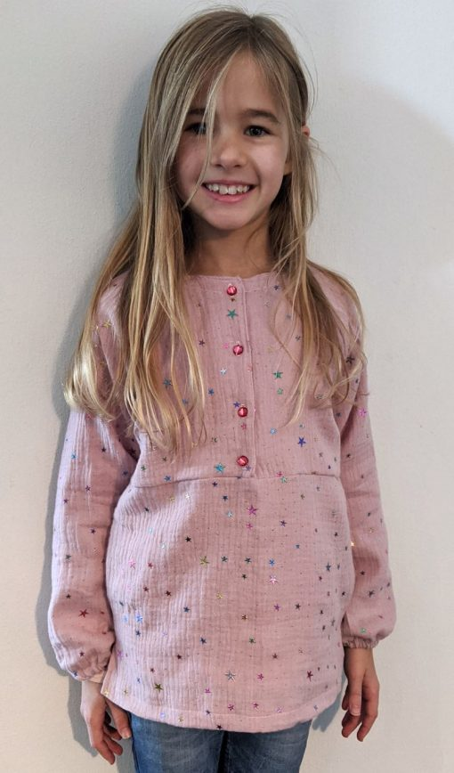 Schnittmuster Bluse Justine Gauze Stoff Kinderbluse Zierstoff1