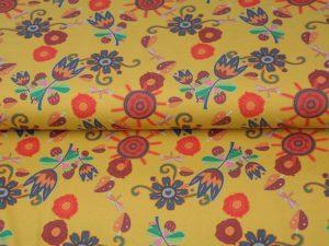 Jersey, bunte Blumen in Retro Farben auf Senf