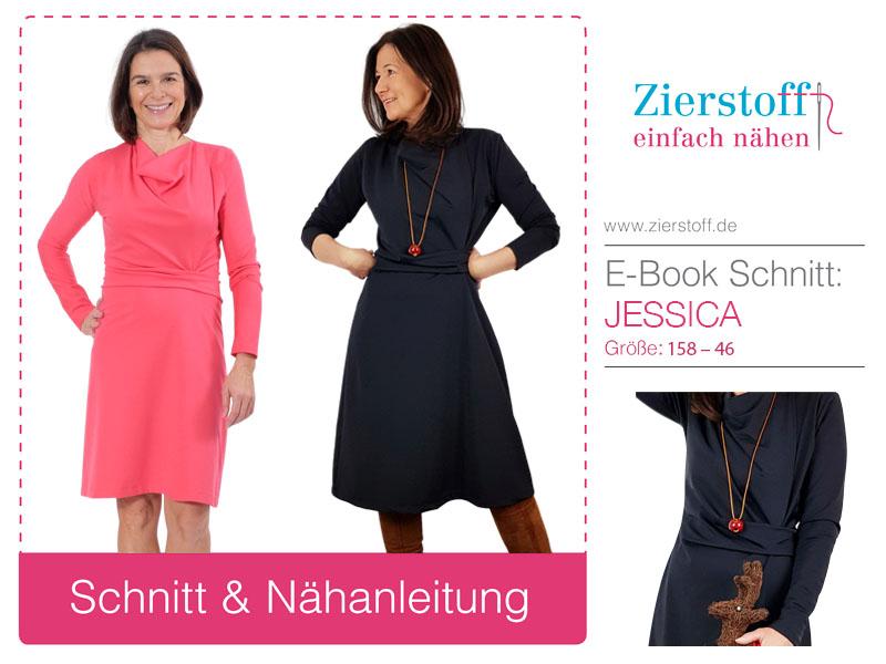 Neues Schnittmuster Damenkleid Jessica mit Wasserfallkragen