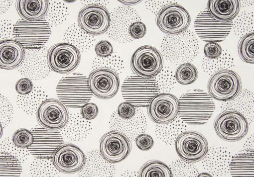 Jerseystoff Kreise Schwarz Weiß