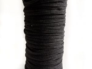 Elastisches Gummiband rund – 10 Meter in der Farbe Schwarz