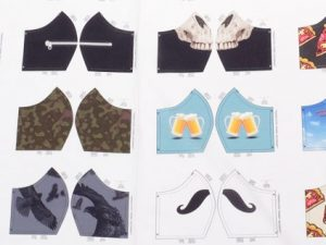 Baumwollstoff, Panel mit 12 aufgedruckten Motiven zum Nähen von Behelfsmasken / Masken für Männer