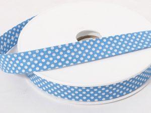 Gepunktetes Schrägband, Baumwolle, vorgefalzt, 20 mm breit – 6 Meter – blau nur auf Amazon im Shop verborgen