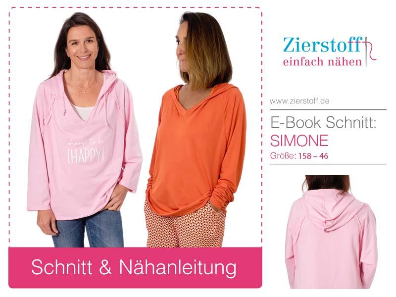 "Schnittmuster Shirt / Raglanshirt mit Kapuze ""Simone"""