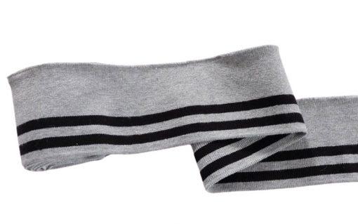 Collegebündchen-Grau-schwarze-Streifen