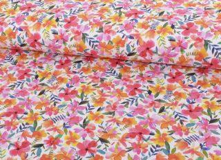 French Terry, Sommersweat, bunte Hibiskus Blumen auf Weiß
