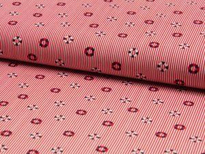 Baumwollstoff, maritimes Muster (Rettungsringe) auf rote Streifen