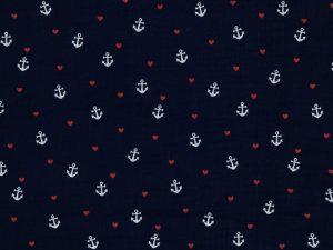 Gauze, Mousseline – Double Gauze Marine mit weißen Ankern und kleinen roten Herzen