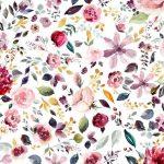 Jersey, bunte Blumen auf Weiß - GOTS Zertifiziert