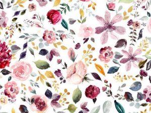 Jersey, bunte Blumen auf Weiß – GOTS Zertifiziert