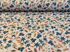 Baumwollstoff, Minimal Print, kleine Blumen Rost / Petrol auf Ecru – Organic Cotton