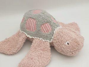 Stoffpaket Schildkröte Romea / Stoff für 2 Kuscheltiere – inkl. Schnittmuster – Rosa Streifen