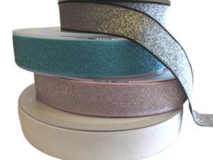 Gummiband 40 mm / unifarben – mit Lurex – 3 Meter Länge – Bundgummi