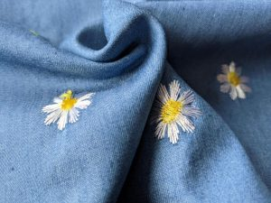 8594-001 Blumen Denim Embroidery