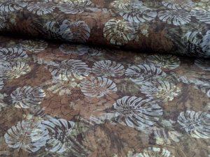 Jersey Blätter Blau Braun - 1