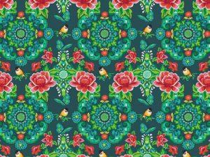 08893.004 Baumwollstoff Blumen grün