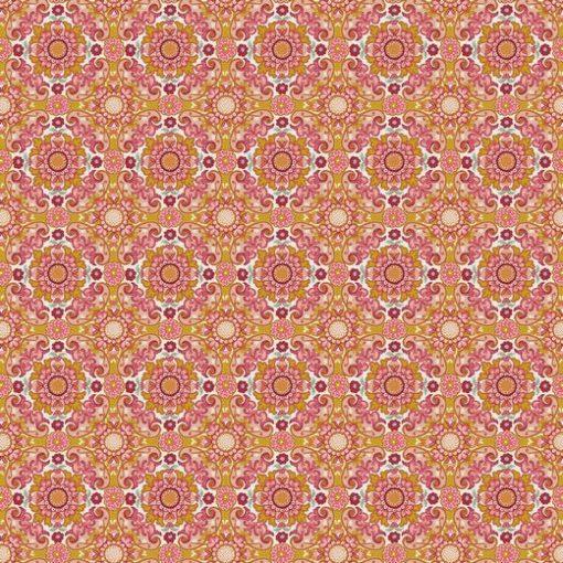 8895.003 Blumen Oliv Rot Baumwolle