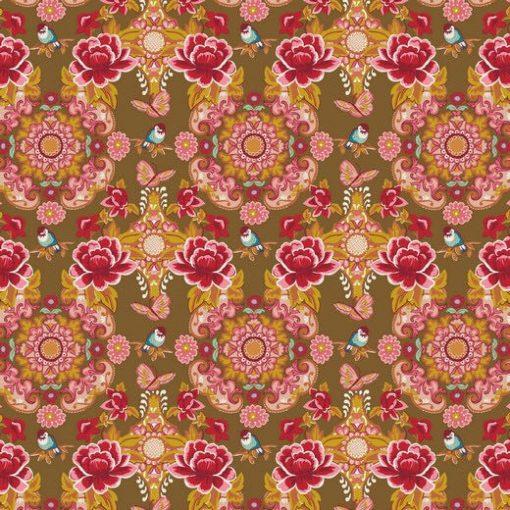 Blumen Baumwolle Rot Taupe 8893.003