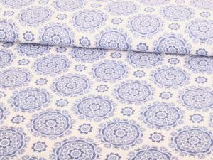 Baumwolle Blumen Ornamente Blau Weiß - 1