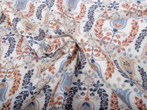 Baumwolle Paisley Rost Blau Weiß - 2