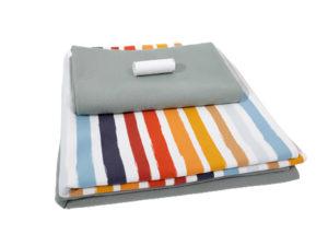Sweatshirtstoff, Retro Streifen, Stoffpaket 3 x 50 cm plus elastisches Garn – Mint