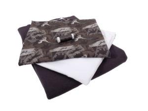 Jersey Dino, Stoffpaket 3 x 70 cm plus elastisches Garn – Grau