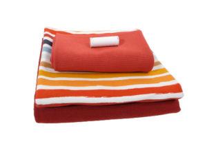 Sweatshirtstoff, Retro Streifen, Stoffpaket – Rost / 1m Sweat + 0,75m Kombisweat + 0,75m Bündchen + elastisches Garn