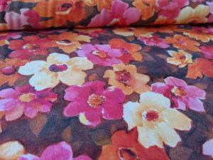 Viskose 9072 - Blumen Orange auf Braun