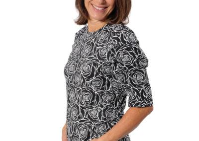 Schnittmuster Shirt Magdalena Schwarz Blumen Jersey