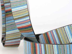 Gurtband, doppelt mit Leder, 25 mm / unifarben – 1 Meter Länge
