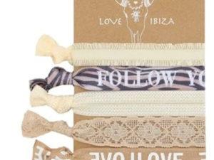 Fashion Band, Ibiza Love, Spruchbänder – Beige mit Spitze – 5 teilig