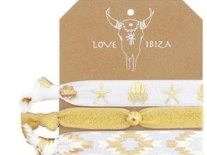 Fashion Band, Ibiza Love, Spruchbänder – Gold / Ecru – 3 teilig